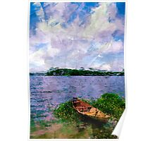 Summer landscape with boat Poster