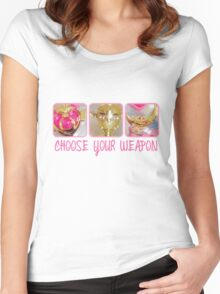 Choose Your Weapon Sailor Moon Style Women's Fitted Scoop T-Shirt