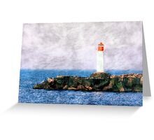 White lighthouse and pier  Greeting Card