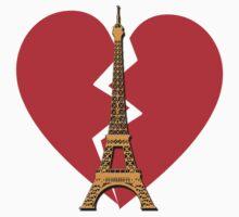 Eiffel Tower with Broken Heart One Piece - Short Sleeve