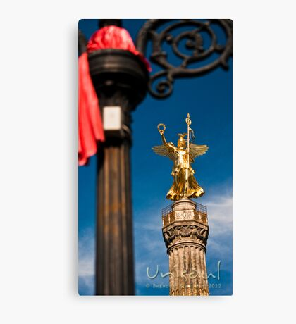 Red, black, gold and blue Canvas Print