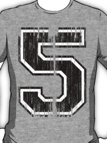 Bold Distressed Sports Number 5 T-Shirt