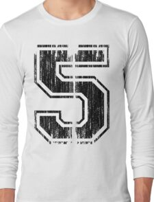 Bold Distressed Sports Number 5 Long Sleeve T-Shirt