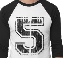 Bold Distressed Sports Number 5 Men's Baseball ¾ T-Shirt
