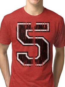 Bold Distressed Sports Number 5 Tri-blend T-Shirt