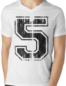 Bold Distressed Sports Number 5 Mens V-Neck T-Shirt