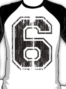 Bold Distressed Sports Number 6 T-Shirt