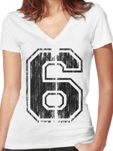 Bold Distressed Sports Number 6 Women's Fitted V-Neck T-Shirt