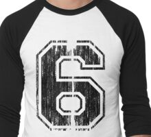 Bold Distressed Sports Number 6 Men's Baseball ¾ T-Shirt