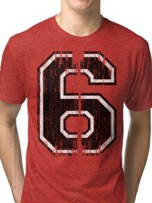 Bold Distressed Sports Number 6 Tri-blend T-Shirt