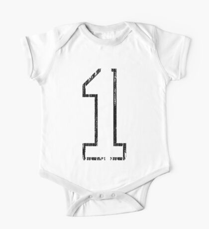 White Distressed Sports Number 1 One Piece - Short Sleeve