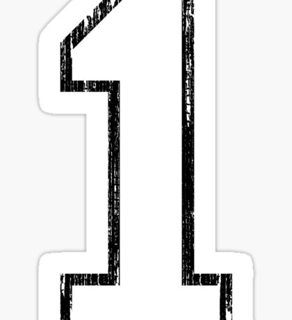 White Distressed Sports Number 1 Sticker