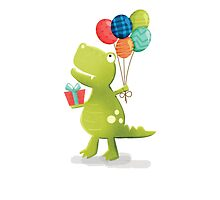Fun T-Rex with Balloons by jwillustrations