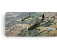 Hawker Hurricanes from 303rd RAF Squadron on patrol. Canvas Print