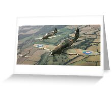 Hawker Hurricanes from 303rd RAF Squadron on patrol. Greeting Card