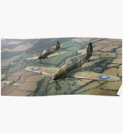 Hawker Hurricanes from 303rd RAF Squadron on patrol. Poster