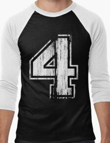 White Distressed Sports Number 4 T-Shirt