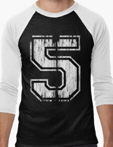 White Distressed Sports Number 5 T-Shirt