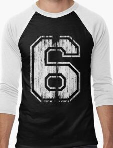 White Distressed Sports Number 6 T-Shirt