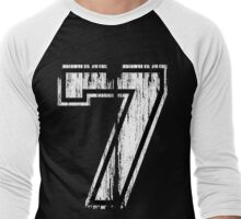 White Distressed Sports Number 7 Men's Baseball ¾ T-Shirt
