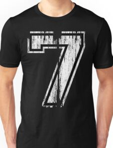 White Distressed Sports Number 7 Unisex T-Shirt