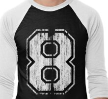White Distressed Sports Number 8 Men's Baseball ¾ T-Shirt