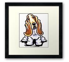 Basset Hound Sit Stay Framed Print