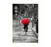 Woman with a Red Umbrella Art Print