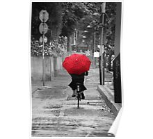 Woman with a Red Umbrella Poster