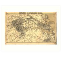 Civil War Military Map of South-Eastern Virginia (1864) Art Print