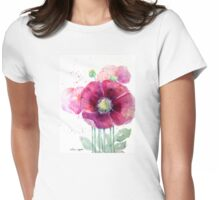 Pink Poppies Womens Fitted T-Shirt