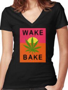 Wake & Bake Marijuana Women's Fitted V-Neck T-Shirt