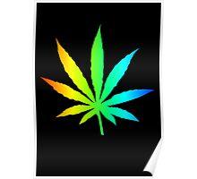Rainbow Marijuana Leaf Poster