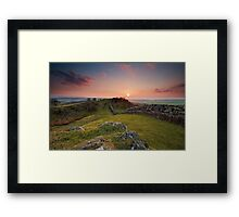 sunset hadrian's wall Framed Print