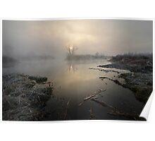 Fog upon river Poster