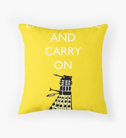 Exterminate and Carry On - Yellow Throw Pillow