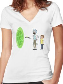Rick & Morty makin' a portal Women's Fitted V-Neck T-Shirt