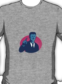 blue businessman politician pointing retro T-Shirt