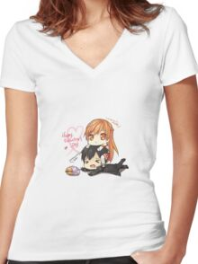 Sao valentines day Women's Fitted V-Neck T-Shirt
