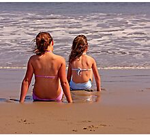 Two Girls Anticipating the Next Wave Photographic Print