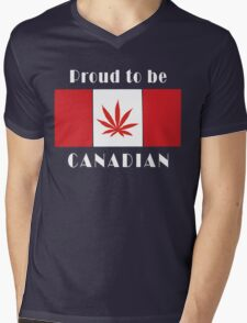 Canadian Flag Weed Mens V-Neck T-Shirt