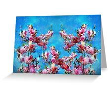 Pink Magnolias Blue Sky Greeting Card