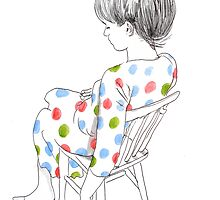 seated girl with a spotty dress by Loui  Jover