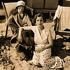 At The Beach In Deckchairs 1929 by Robert Phillips