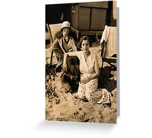 At The Beach In Deckchairs 1929 Greeting Card