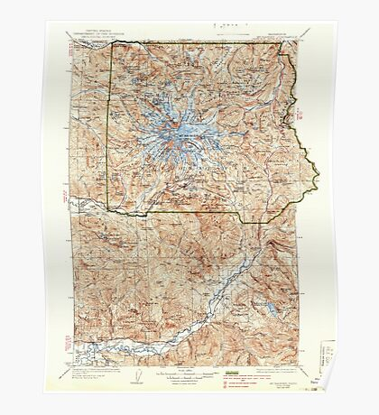 USGS Topo Map Washington State WA Mt Rainier 242671 1928 125000 Poster