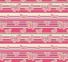 Pink Stripes and Butterflies Pattern by SaradaBoru
