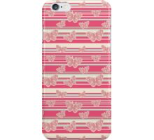 Pink Stripes and Butterflies Pattern iPhone Case/Skin