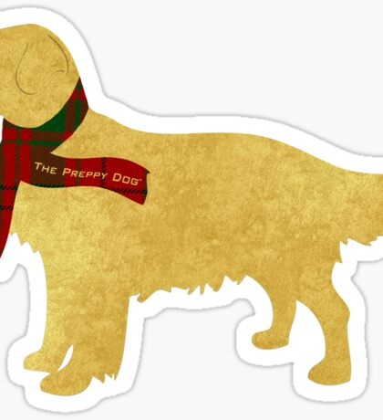 Preppy Golden Retriever - Tartan Plaid Scarf Sticker