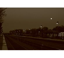 Full Moon hangs over the Lisle, IL train station. Photographic Print